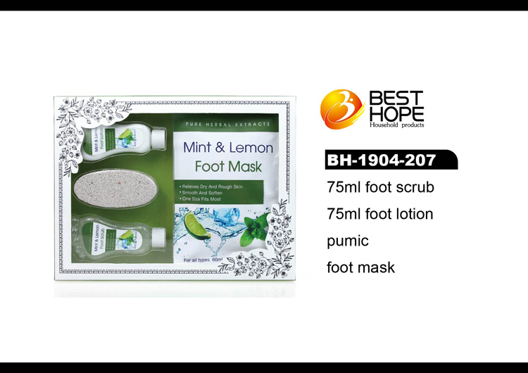 Doos Gift mint citroen geur voet masker care product set