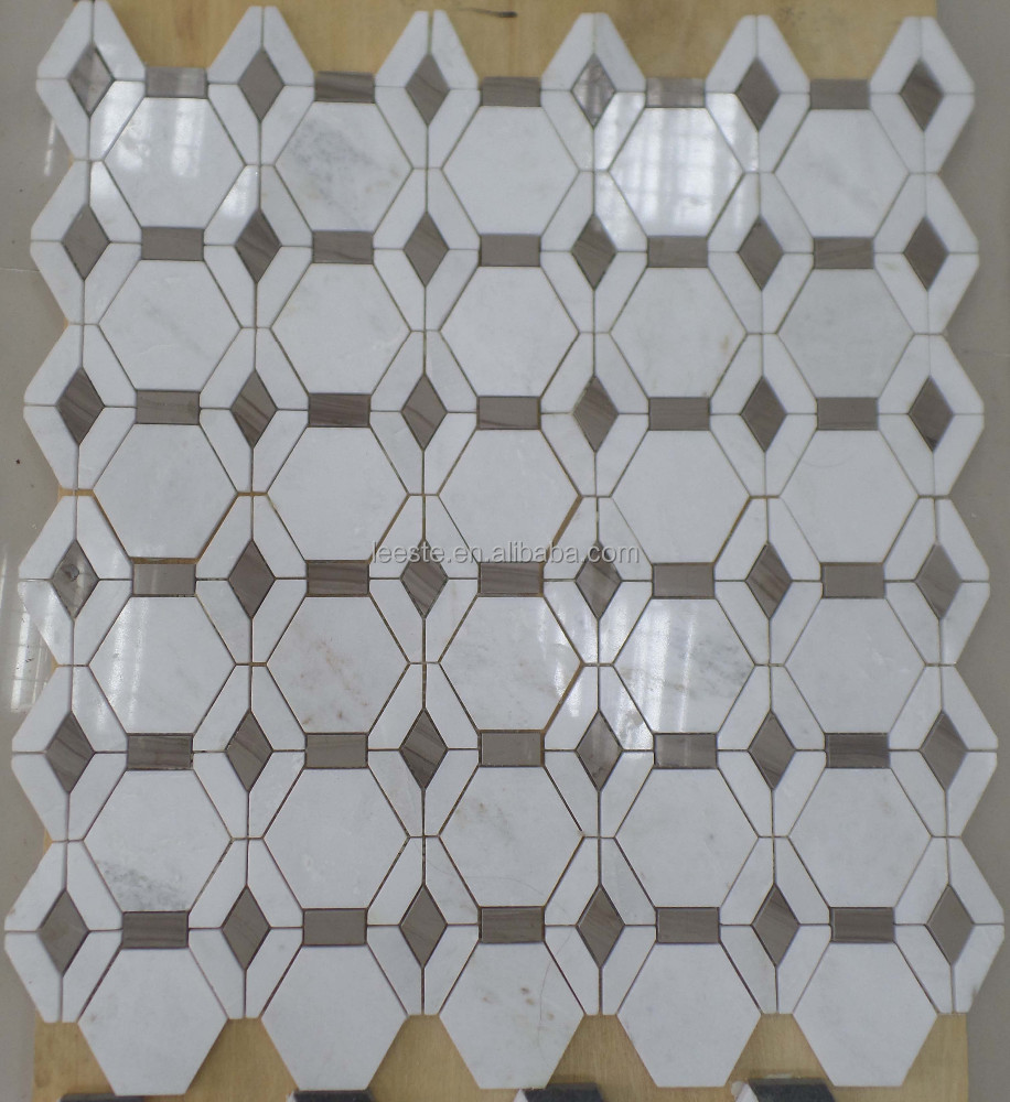 Pure White and Athen Grey Hexagon Marble mosaic Tiles