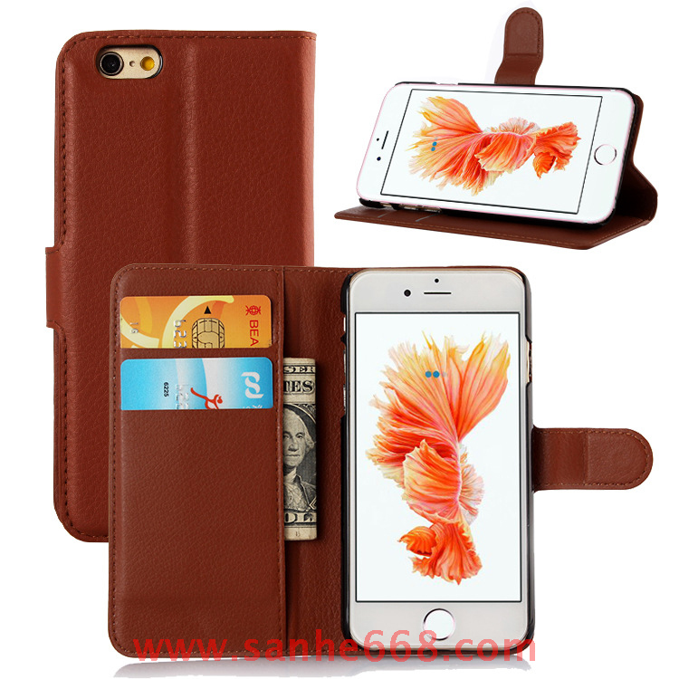 Factory Wholesale PU Leather Phone Cover Wallet Card Holder Magnetic Folded Flip Cell Phone <strong>Case</strong> for iPhone 6 6S
