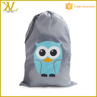 Cartoon printing cute Nylon drawstring laundry bags ,delicates laundry bag for kids