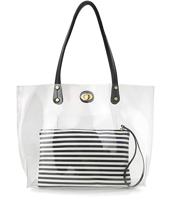 High Quality Handbags For <strong>Women</strong> for <strong>Women</strong> Stripes PVC Tote Handbag Ladies Hand Bags Handbags
