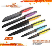 Hot Sale High Quality Colorful Non-stick Coated Stainless Steel Kitchen Knife Set
