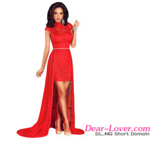 Party cocktail dresses fashion Short Lace red dresses for women