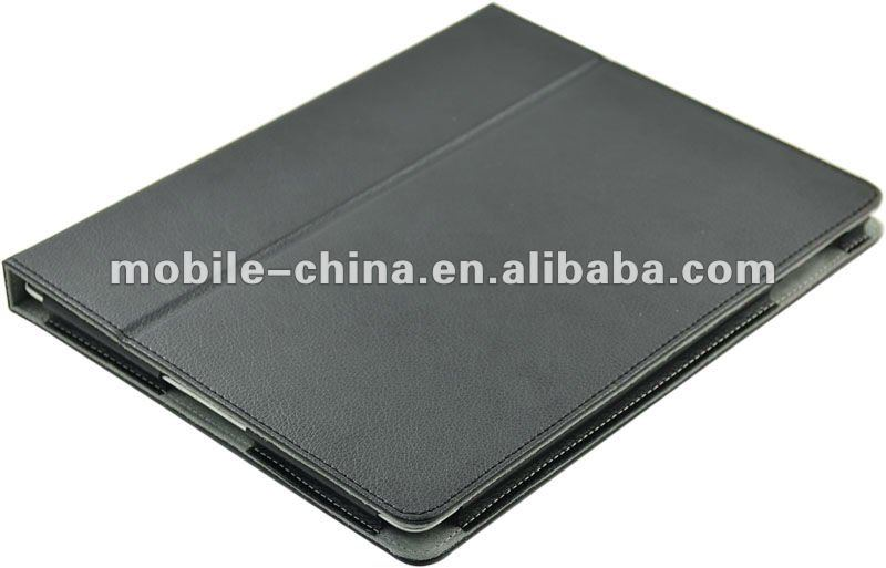 For ipad 3 PU leather Case Cover and Flip Stand with Elastic Hand Strap and Premium fiber Interior - Auto Wake and sleep