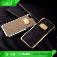 luxury leather back cover for apple iphone 6 chrome case