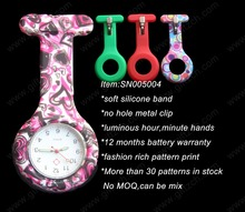 Colorful pattern print silicone pocket nurse watch SN005004