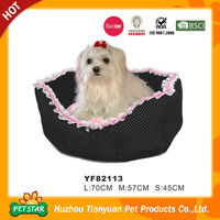 Dot Pattern Lace Decoration Cute Snuggle Dog Bed
