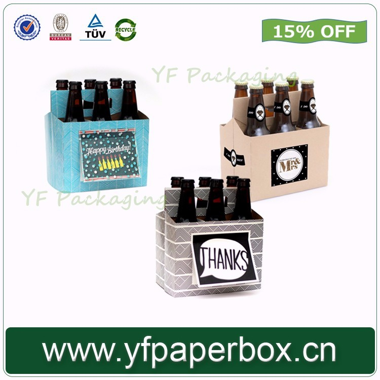 6 pack beer carrier box /High quality wine & beer glass display box wholesale in China with handle