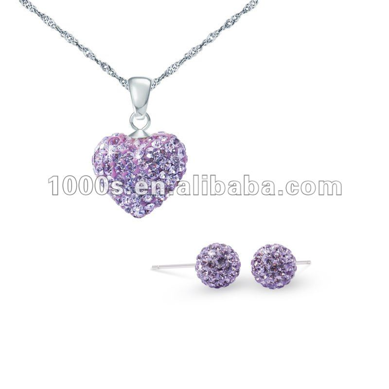 new design heart shaped 925 silver crystal jewelry sets/ crystal earrings and necklace
