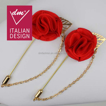 Hotsales red lapel pin flower brooch with golden chain