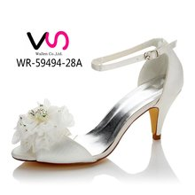 8cm high heel with big flower bow in peeptoe dyeable sain bridal shoes wedding shoes made in china women shoes