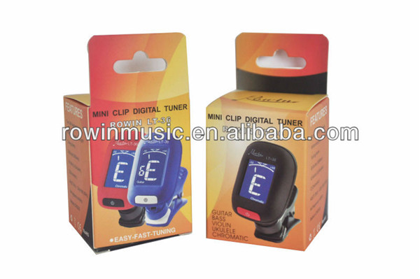rowin mini clip digital tuner 360 swiveling motion clip on guitar tuner