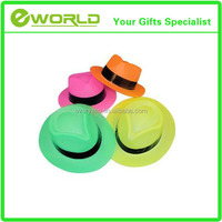 Neon Color Plastic Gangster Fedora Hats