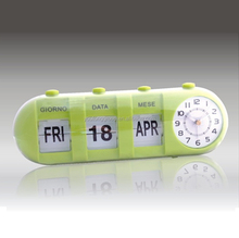 Big Arabic Numeral Flip Clock,Battery Operated Calendar Clock,Table Alarm Gift Clock