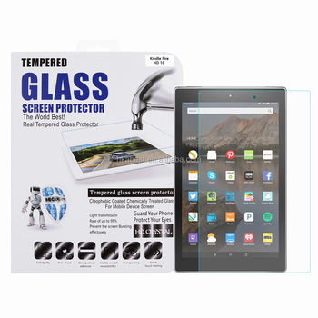 for Kindle Fire HD 10 Tempered Glass Screen Protector 9H 0.26 MM Rounded Edge Bubble Free Anti Dust Anti-scratch