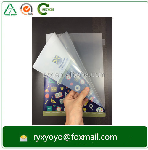 printed clear file folder plastic pp folder L shape a4 size folder with dividers