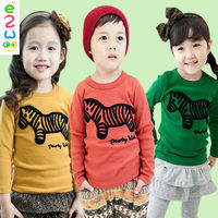 China New Designs Long Sleeve Kids Cartoon Hand Painted Cotton T Shirt