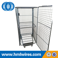 Wire mesh rolling storage security cage trolley