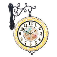Home garden natual shell double sided wall mounted time clock mute