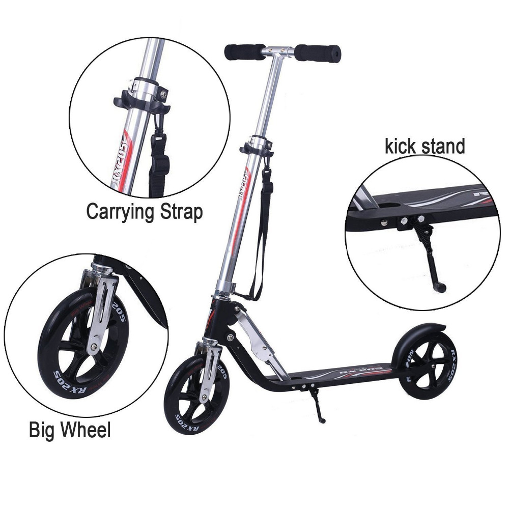 Vokul Scooter Hudora RX-205 LUX 200mm Big Wheel Folding Kick Scooter for Adult Light Weight