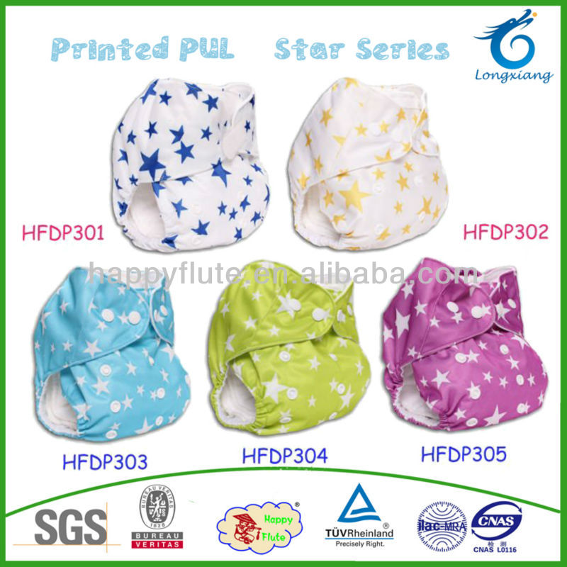 Happy flute pul washable cloth baby diapers all in one adjustable diapers