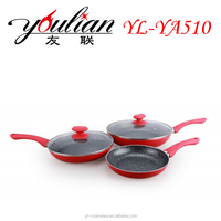 Hot sale Aluminum Ceramic Fry pan red color frypan 3pcs frying pan set with glass lid