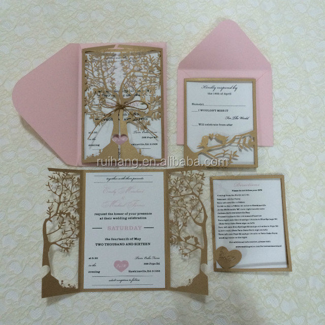 lastest various colors Fall Laser Cut Tree Wedding Invitation invite card
