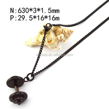 Fashion Man Black Plated Dumbbells Pendant Stainless Steel Necklace Jewelry n001684