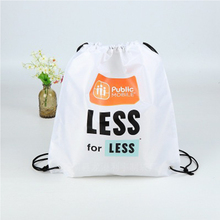 Waterproof Sport White Polyester Kids Drawstring Gym Backpack Shoe Bag