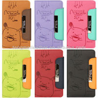 Cute minion cartoon case for iphone 5 5s,lovely leather case for iphone 5s 5c with stand