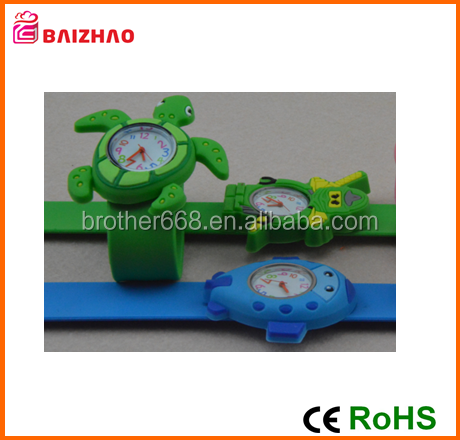 Factory new design colorful silk printed silicone kids slap wristband bracelet watches