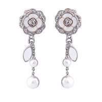 Fashion Jewelry Pearl Earrings Rose Flower Austrian Crystals Flower Earrings
