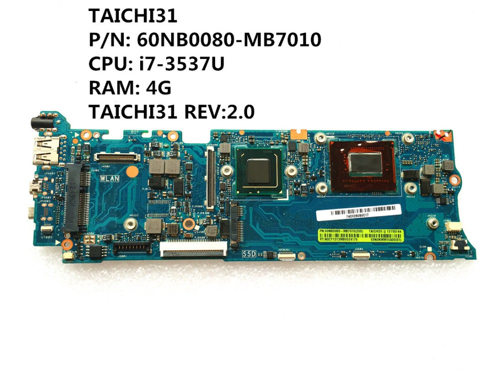 For ASUS UX31A UX31A2 Mainboard Intel with I7 CPU 4GB RAM motherboard 100/% test