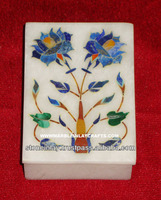 Indian Handcrafted White Marble Inlay Trinket Box