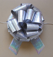 Fashion Beautiful Holographic Silver Pom Pom Pull Bow For Decoration,Wedding