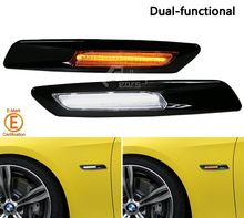 Glossy Black LED Yellow Signal Light+DRL Smoke Side Marker for BMW 1.3.5 Series
