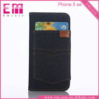 For iPhone 5 Flip leather case card storage wallet for iPhone SE Jeans leather case