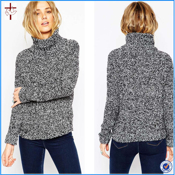 Alibaba china clothing/Chunky cashmere sweater With High Neck In Boucle