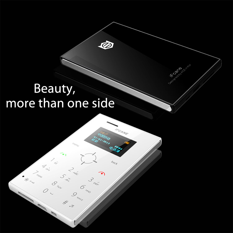 1.0 Inch Screen Card Size IFcane E3 Very Small Size Mobile Phone low price with bluetooth mp3 player FM