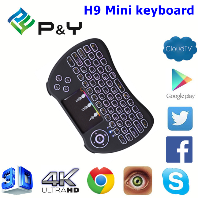 Factory Directly H9 Mini wireless keyboard arabic keyboard With Professional Technical Support touchpad air mouse remote