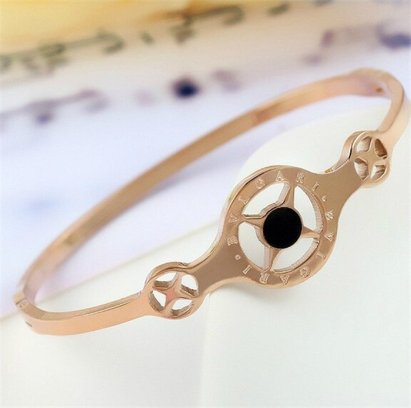 Yiwu Aceon stainless steel rose gold plated black enamel BV fashion bangle