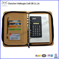 Hotsale portfolio,promotion leather portfolio,portfolio with calculator