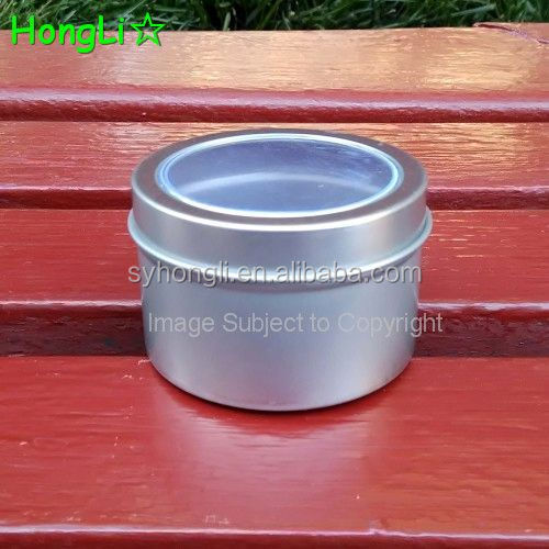 Small Customized Tin Candle Can With PVC Window Lids