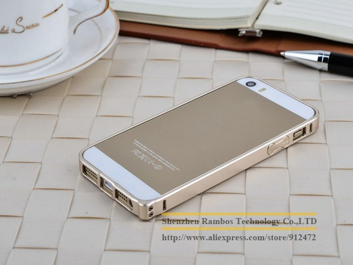 Gold Aluminum Hard Metal Bumper Frame Side Metal Button for iPhone 5 5S