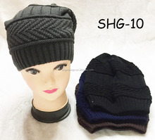 Fashion top sold fabulous single layer winter yiwu solid adults size crochet acrylic caps wholesale factory knitted women hat