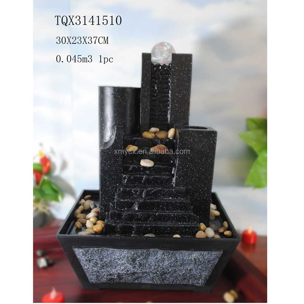 Black Stone Stair Rolling Ball Water Fountain for Desk
