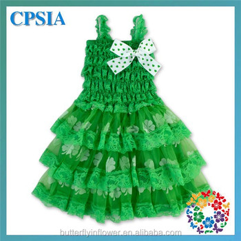 Green Shamrock Floral Print Dress With Bow Pageant Summer Toddler Girls Petti Romper Dresses
