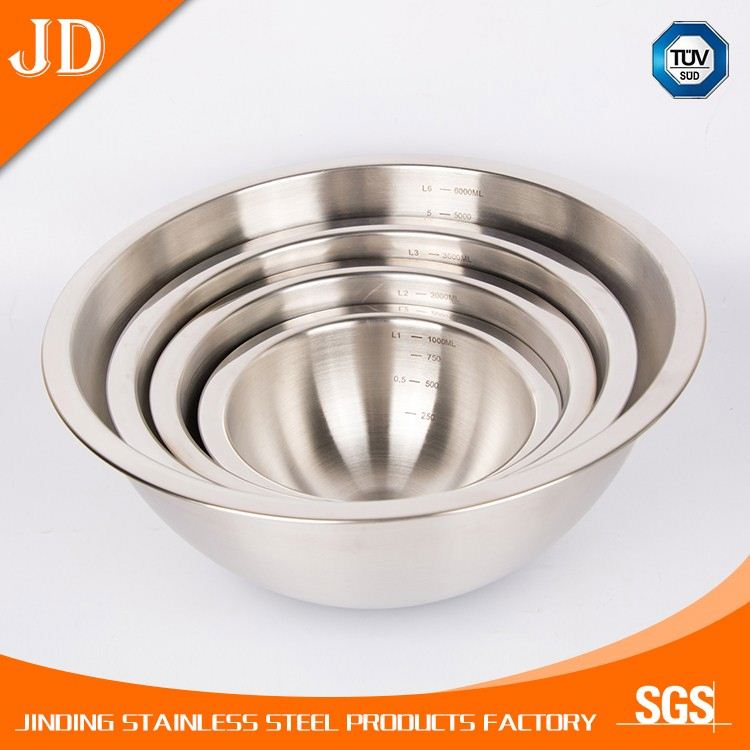 thick stainless steel deep mixing bowls/salad bowls container