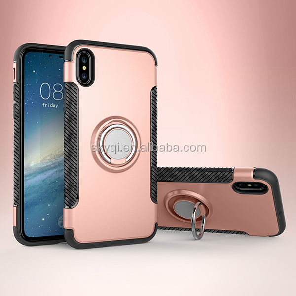 Alibaba China PC TPU hybrid magnetic ring holder squishy mobile phone case <strong>cover</strong> for iPhone X