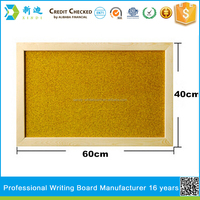 yellow surface wooden frame push pin cork notice board